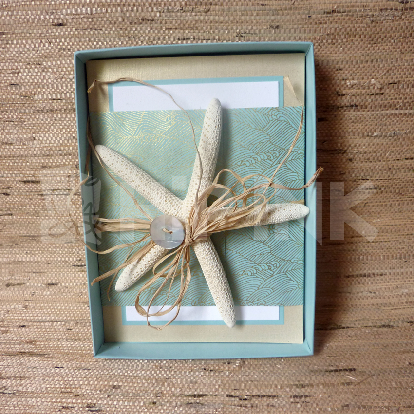 First up the ultimate beach wedding invitation featuring a real starfish